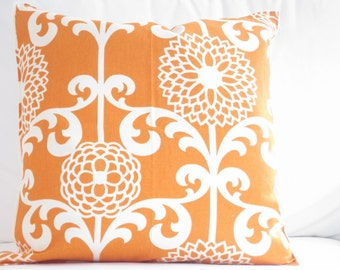 orange pillows, floral pillow, decorative pillows, pillow covers, waverly pillows, throw pillows, couch pillow, 18 inch decorative pillows