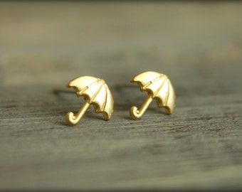 Tiny Umbrella Earring Studs in Raw Brass or Raw Copper, Stainless Steel Posts