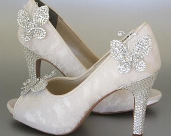 Beau Wedding Shoes    Ivory Peeptoes With Lace Overlay, Rhinestone Heel And  Platform And Rhinestone