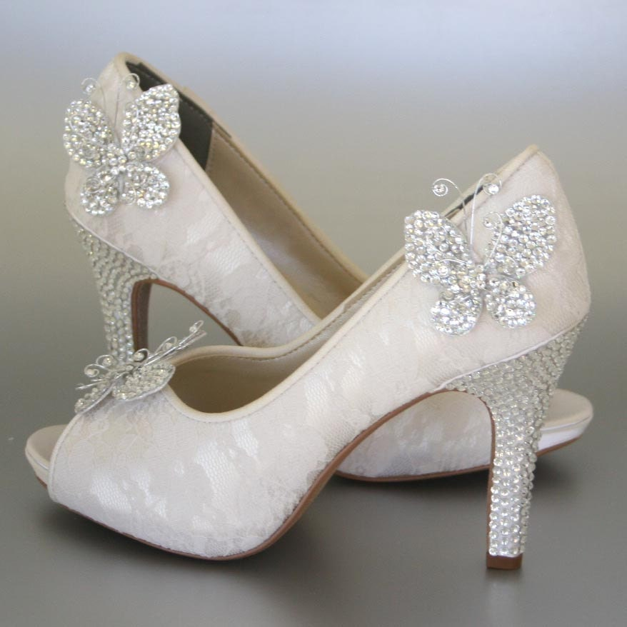 Wedding Shoes Ivory Peeptoes With Lace Overlay Rhinestone