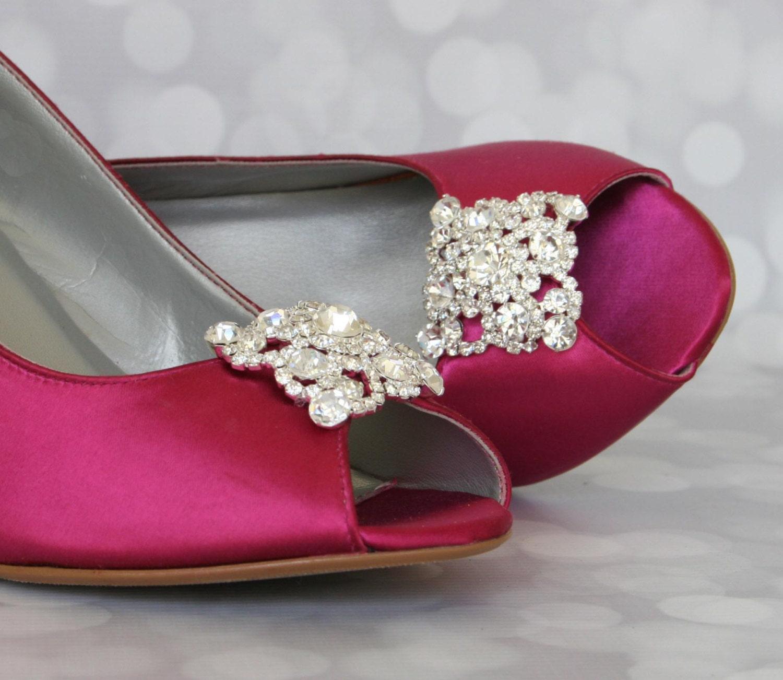 Wedding Shoes Fuschia Peep Toe Wedge By EllieWrenWeddingShoe