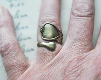 Silverware handle ring, Brass Ox, Adjustable