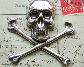 Large Skull and Crossed Bones Brass Stamping, Sterling Silver Ox Finish