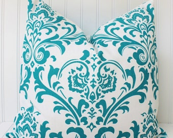 Turquoise Pillow-Throw Pillow-Decorative Pillow-Turquoise Blue Pillow-Cushion Cover-Damask Pillow