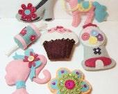 Set of (7) Sugar and Spice Stuffed Felt Ornaments-#0020