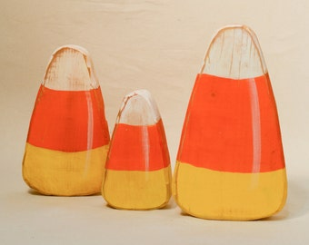 Candy Corn Set of Three Wooden Distressed Primitive Halloween Decoration