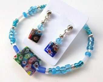 OCEAN AND SKY- Beaded Stretch Bracelet and Earrings Set- Millefiore Beads, Silver Spacers, and Post Style Earrings
