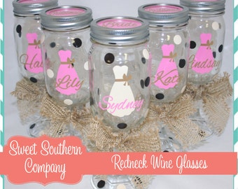 8 Personalized Bride and Bridesmaid Redneck Wine Glasses