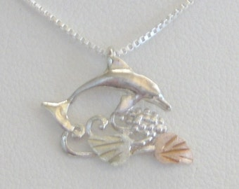 Whitaker's Black hills Gold on Silver Small Dolphin Pendant