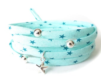 Aqua fabric wrap bracelet with turquoise stars, Sterling silver beads and star charm, jewelry gift for teen girls