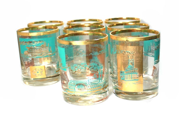 Bar ware SALE.  Turquoise Gold Steamboat. Southern Comfort Promotional glassware. Double Old Fashion. Half Price Sale