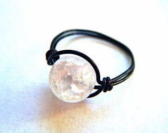 Wire Wrapped Crackled Quartz Ring - Gemstone Ring - Black Wire