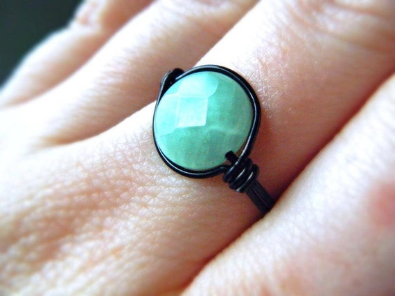Jadeite Wire Wrapped Ring - Black and Sea foam Green - Made to Order