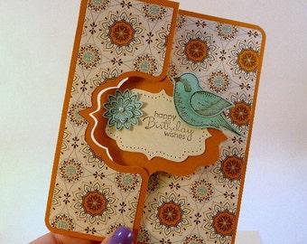 Birthday Flip Card, dimensional card, bird, flowers, cottage chic birthday card, blue, mustard, hand stamped card, (C1156)