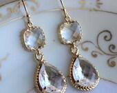 Gold Clear Earrings Crystal - Two Tier Teardrop Earrings - Bridesmaid Earrings - Bridal Earrings - Wedding Earrings