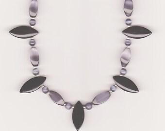 Handmade Jewelry, Beaded Necklace, Grey Black Necklace, Cat Eye Necklace, Statement Necklace, Grey Cat's Eye Beaded Necklace, Beadwork