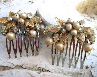 Vintage Wedding Comb Set Baroque Vintage Vendome Jewelry Gold Bridal Hairpieces Accessories Repurposed