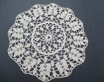 """Crocheted Doily - Tan Wheat Clusters - 11"""" Diameter"""