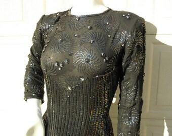 DOMINQUE Vintage Black Silk & Rayon Beaded Sequinned Dress Sz M DA26