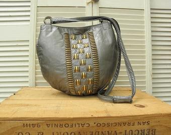 Studded Vintage Silver Leather Handbag Gray Crossbody Festival Large Drawstring Rocker Bohemian Punk