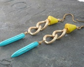Yellow Wood and Blue Turquoise Cuban Link Dangle Earring