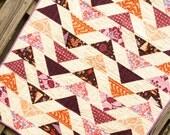 Modern baby girl chevron quilt, designer fabrics, crib blanket or nursery bedding