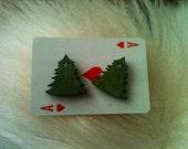 Wooden Christmas tree stud earrings