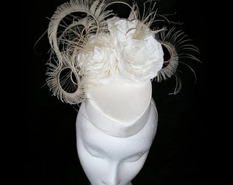 Bridal headpiece ~ Wedding Fascinator 1940's Silk Ivory Pillbox Hat with Roses and Peacock Swords