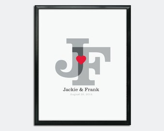 Wedding Guest Book Poster PDF - Initials & Heart - Personalized Printable
