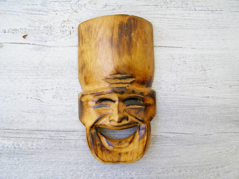 Hand Carved Wood Man Mask Vintage Folk Art Laughing Mask