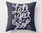 Let's Go Explore Nautical Anchor & Rope Throw Pillow Modern Abstract Beach House Chic Decor