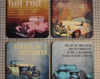 Coaster Set | Coaster Set. Vintage Cars Set of 4 Cork Back | Options at Checkout Man Cave | Set of 4 Cork Back | Options at Checkout