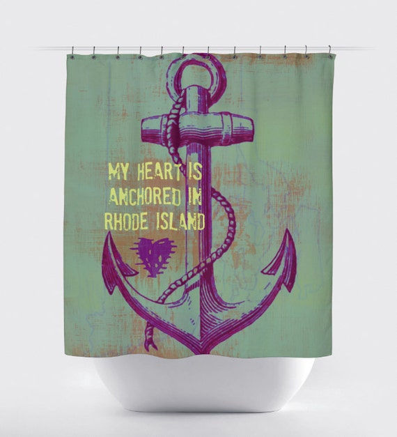 Rhode Island Shower Curtain Heart In Rhode Island Anchor 12