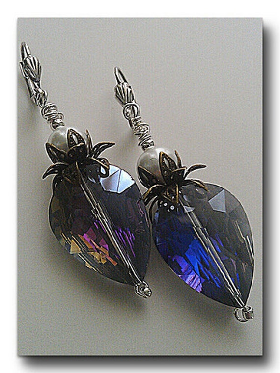 Deep Blue Dangle Earrings