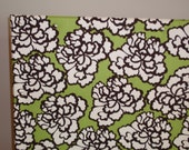 CorkBoard PinBoard Cork Bulletin Pin Fabric Message Board 23x35 size Cream Floral on Lime Green Fabric Shiny Chrome Nail Head Trim, Pushpins