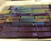 "50 IRIDIZED PURPLE GRAPE Transparent Small Borders Stained Glass 1/4"" x(1/2""-3/4"")"