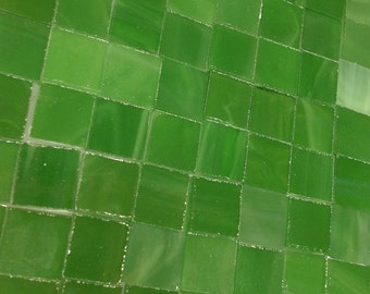 """75 LUCKY LEPRECHAUN GREEN Tile  3/8"""" Stained Glass Mosaic Supply A35"""