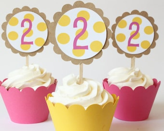 Custom Birthday Cupcake Toppers Colorful Pink and Yellow Polka Dot Birthday Cupcake Toppers Girls Birthday Yellow Party Supplies / Set of 12