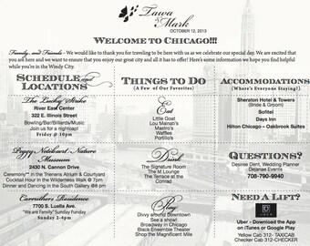 Chicago WELCOME BAG insert - Wedding Weekend Summary - Printable DIY