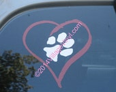 Rescue Mom Decal - I Love My Dog Vinyl Decal Car Window Sticker Heart and Paw Print