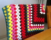 Crochet colorful mexican blanket