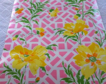 Vintage retro pink fretwork floral thibaut wallpaper roll