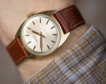 Gold plated men's watch Cardinal\Glory, mint condition wrist watch, rare gent's watch mechanical, premium leather strap new