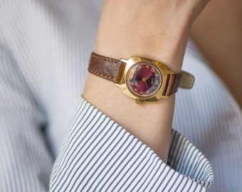 Vintage women's watch, Ray gold plated wrist watch, oxblood face accessory, lady watch square, feminine watch, premium leather strap new