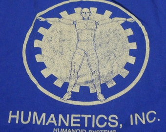Vintage 80s Humanetics Inc Humanoid Systems BlueT-Shirt