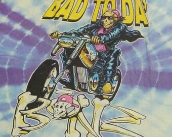 Vintage 80s Bad To Da Bonz Tie Dye Skull Skeleton T-Shirt