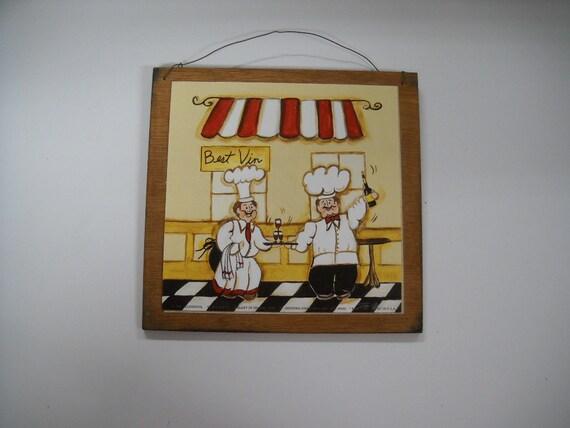 Best Vin Cafe kitchen Chefs wall art sign wine food italian bistro signs wooden
