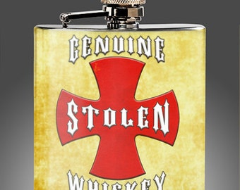 Flasks - Genuine Stolen Whiskey Flask with a vintage look, Best Man Gift, Rat Rod, Hot Rod Gift, Stainless Steel 6 oz Liquor Hip Flask