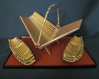 Vintage Wooden Tray and Bamboo Basket and towel napkin holders
