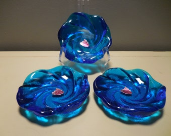 Vintage Fenton Blue Swirl Art Glass candy dishes